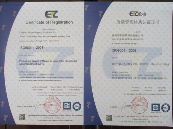 China Qingdao Henger Marine Supply Co., Ltd Certificaciones